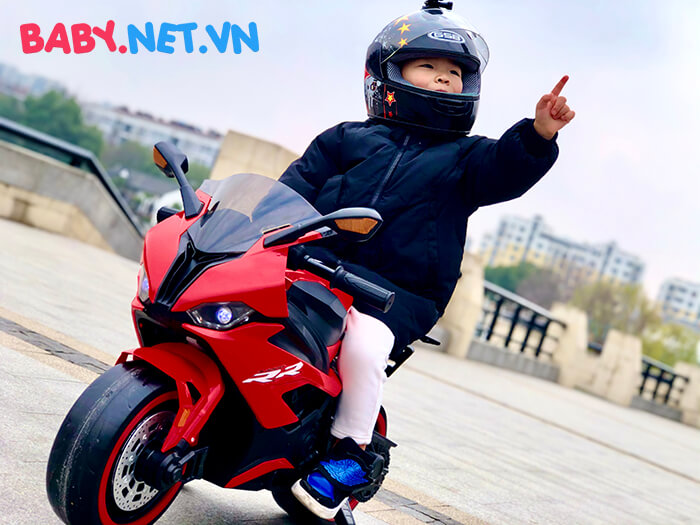 Xe mô tô điện cho bé S1000RR tay ga đèn bánh 10
